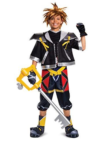 Disguise Men's Sora Deluxe Teen Costume Adult Costume, -Black, Child L(10-12)