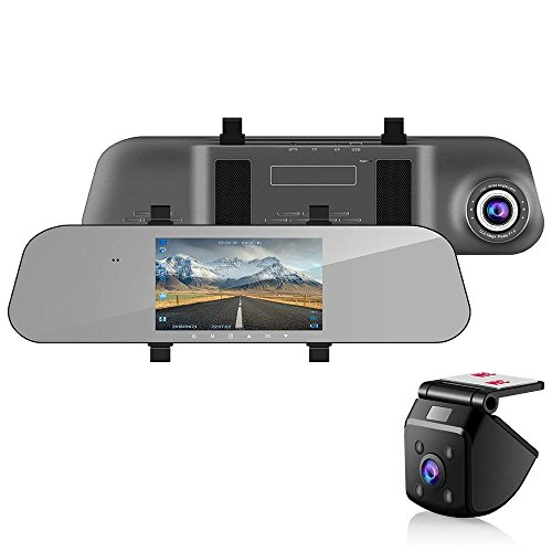 Mucrow 5' Dual Lens Mirror Dash Cam AHD Reversing Backup Camera kit,1080P...