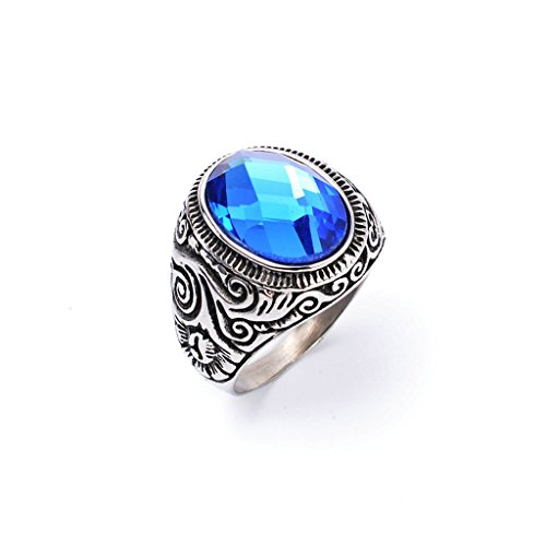 Chandelier Music Video Costume (Men's 316L Stainless Steel Zircon Blue Sapphire Ring Blue Size 12)