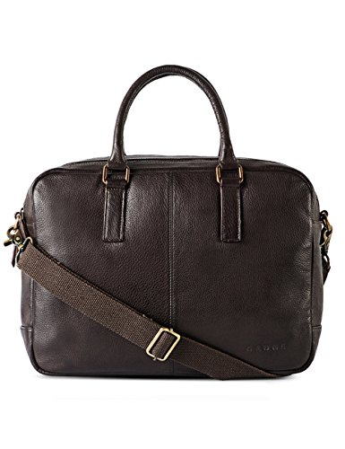 Gauge 15.5 inch Leather Laptop Bag Messenger Bag Office Briefcase College Bag for Men (Brown) by Gauge
