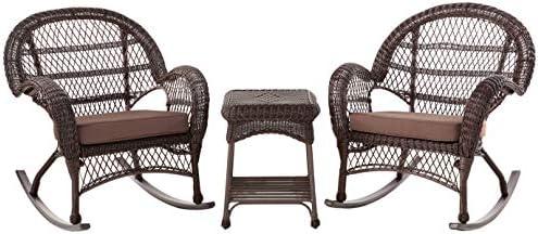 Jeco 3 Piece Santa Maria Rocker Wicker Chair Set
