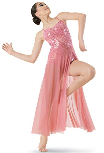Balera Lyrical Dance Dress Sequin Lace Bodice with Mesh Maxi Skirt and Built-In Brief