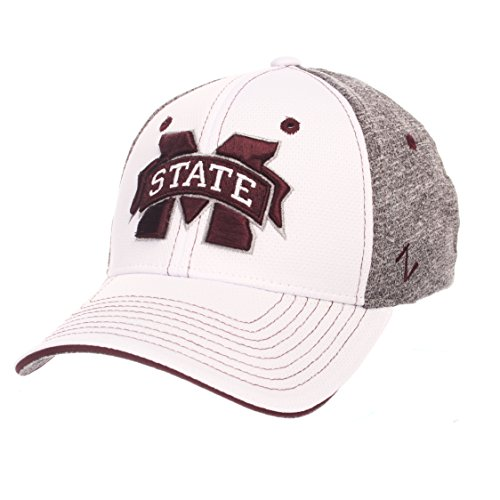Zephyr NCAA Mississippi State Bulldogs Adult Men Equinox Hat, X-Large, White/Heather Gray