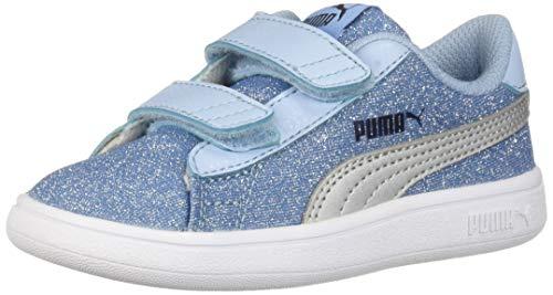 PUMA Girls' Smash V2 Glitz Glam Velcro Sneaker, Cerulean Silver, 6 M US Toddler (Silver Fabric Footwear)