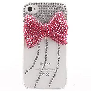 TOPAA Red Broken Auger Bowknot with Diamond Covered Transparent Hard Case with for iPhone 4/4S