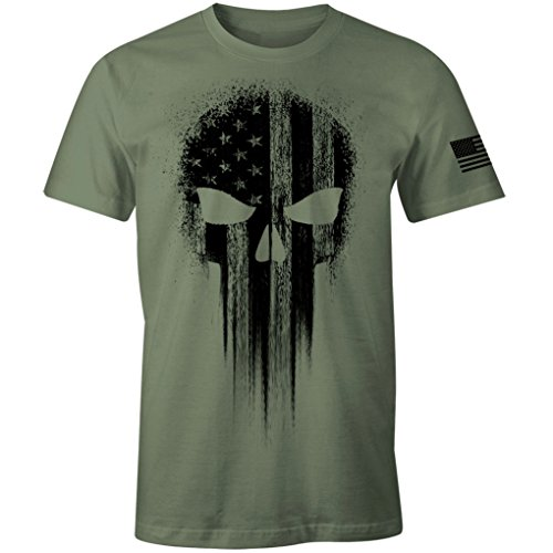 USA Military American Flag Black Skull Patriotic Men's T Shirt (Military Green, ()