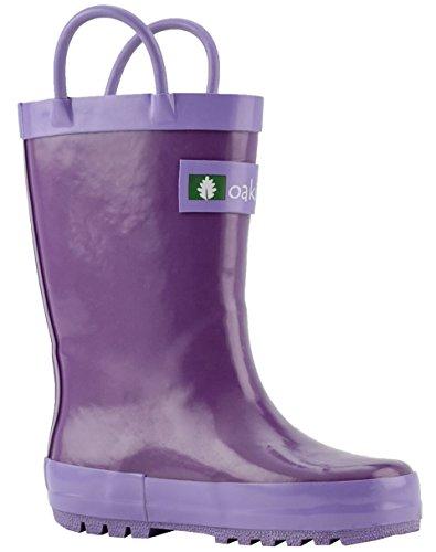 Oakiwear Kids Waterproof Rubber Rain Boots with Easy-On Handles, Orchid Purple, 7T US Toddler by Oakiwear
