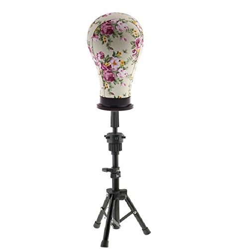 Baoblaze Adjustable Wig Head Stand Tripod Holder Mannequin Tripod for Hairdressing Training with 23 inch Wigs Making Cork Canvas Block Mannequin