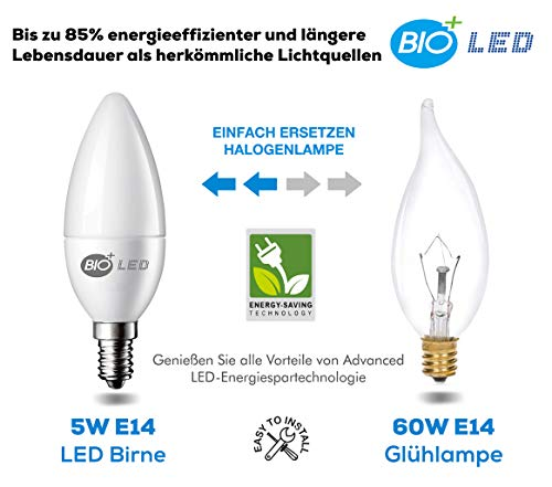 Bioled E14 LED Glühbirnen, 6er Pack, Kaltweiß 6400K, 5W (Ersetzt 60W Halogenlampe), LED Kerzenlampen, E14 LED Leuchtmittel mit Kerzenform, LED Kerzenbirnen, LED Glühlampe