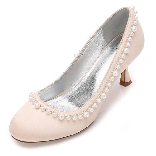 Elegant high shoes Mujeres Boda Rhinestone T-17061-35 Marfil Satén Nupcial Novia Damas Corte de Dama de Honor Zapatos Tallas 3-7 Champagne