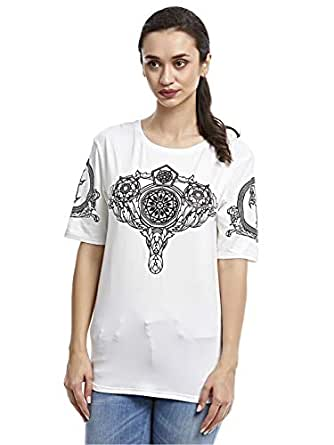 Afterlife White Round Neck T-Shirt For Women