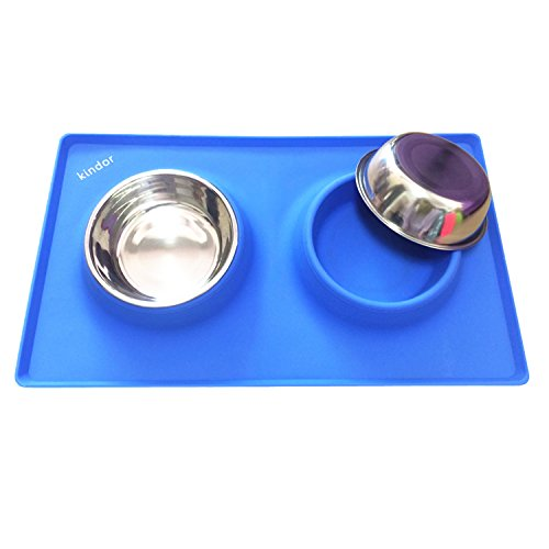 Small Dogs Cats Bowls – Blue Silicone Rubber Mat Stand Non Skid Not Spill for Puppy Pets Feeding – Removable Stainless…