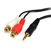 StarTech.com MU1MFRCA Stereo Audio Cable 3.5mm Male to 2x RCA Female, 6-Feet
