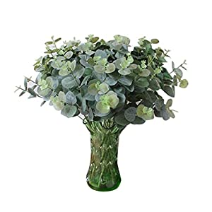 Cywulin Artificial Greenery Eucalyptus Bushes Foliage Plants Leaves Fake Shrubs Plastic Bloom Filler Heads House Office Farmhouse Garden Patio Wedding Indoor Outdoor Verandah Decor Wholesale 68