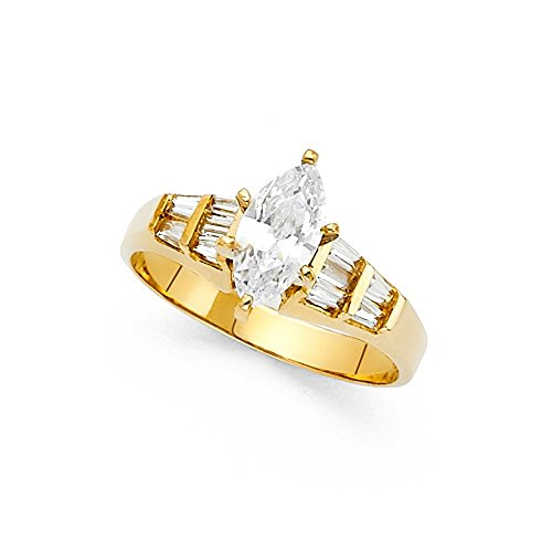 14k Yellow Gold Marquise Solitaire CZ Engagement Ring Anniversary CZ Band Baguette Side Stones Size 8