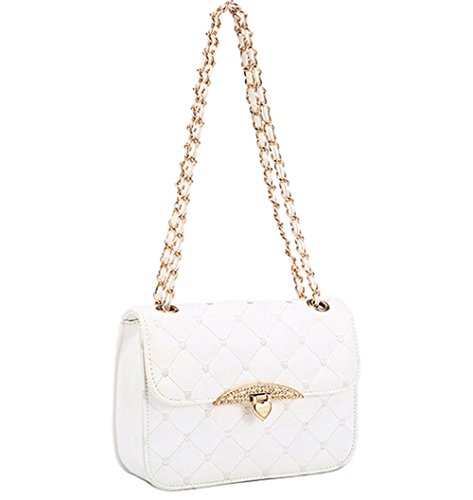 KISS GOLD(TM) Elegant Lady's Check Pattern Chain Strap Shoulder Bag (White)