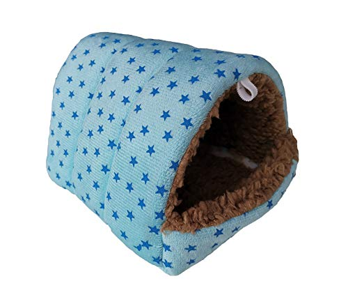 WOWOWMEOW Hamsters Polka Dot Warm Fleece Cave Bed Hanging Cage Hideout for Guinea-Pigs (M, Blue-Stars)