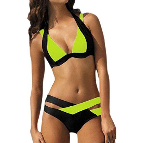 Bikini Swimsuit Lime (Rambling 2018 New Sexy Swimwear Women Swim Beach Wear Print Bandage Swimsuit)