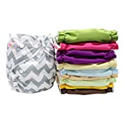 MABOJ Pocket Cloth Diapers One Size Baby Cloth Nappies Washable Reusable Waterproof Diapers for 8 to 35 pounds Babies (Grey)