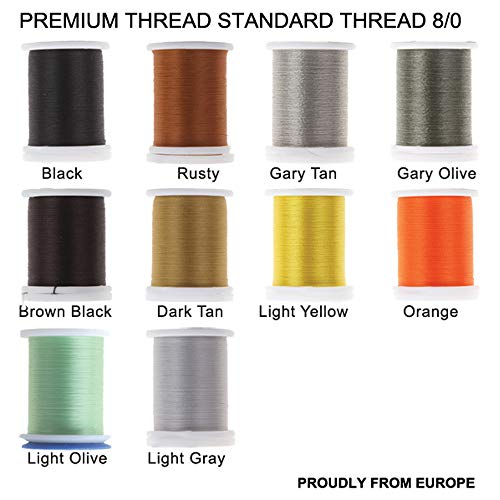 (Riverruns Super Realistic Standard Thread 3/0,6/0,8/0,Twisted Thread, Body Thread Fly Tying Material Proudly from Europe Tie Flies Body (10 Color/Set Standard Thread 8/0))