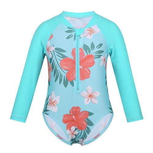 ranrann Baby Girls One-Piece Hawaii Swimwear Flower Printed Front Zipper Swimsuit UV-Rays Rash Guard Cyan 6-12 Months ()