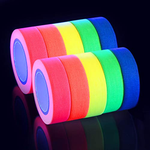 AOND 10 Pack(Total 164 Feet) UV Blacklight Reactive Tape Neon Colored Fluorescent Tape Neon Gaffer Cloth Tape for Kids Birthday, Glow Party, Home Decoration, Stages, Art, Label or DIY -