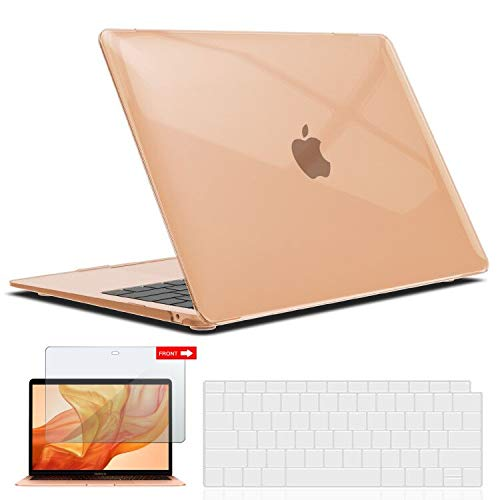 IBENZER MacBook Air 13 Inch Case 2020 2019 2018 New Version A1932, Hard Shell Case with Keyboard & Screen Cover for Apple Mac Air 13 Retina with Touch ID, Crystal Clear, AT13CYCL+2