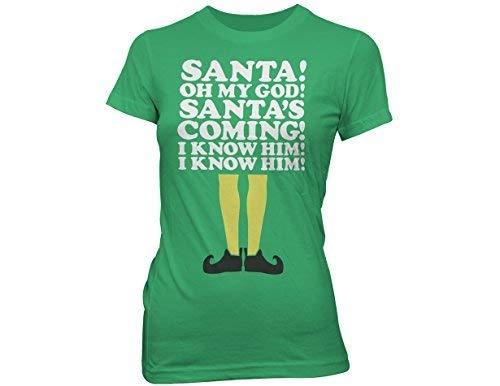 Ripple Junction Elf Santa's Coming Junior's T-Shirt Medium Kelly Green -