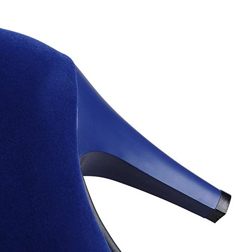 Allhqfashion Womens Low-top Con Cerniera Smerigliato Tacco Tondo Stivali Chiusi Punta Blu Blu