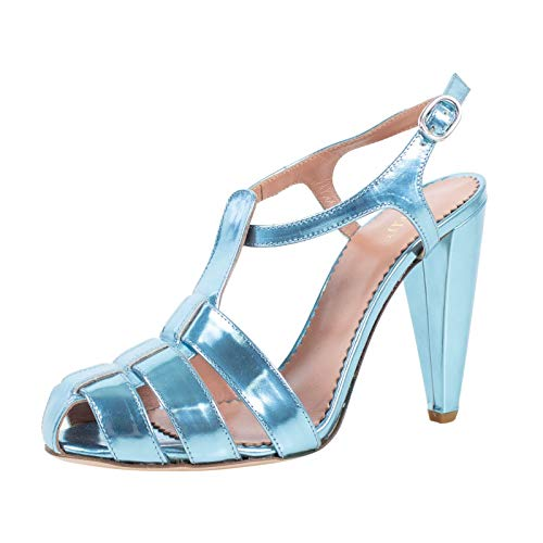 Red Valentino Women's Valentino Metallic Laminated Leather Sandals Heels Shoes /37 7 Blue