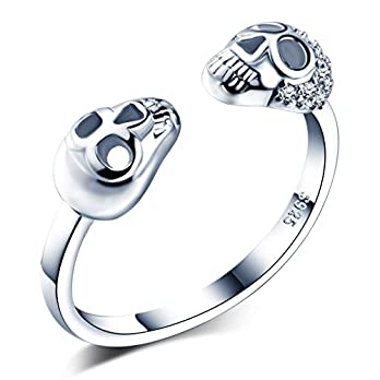 Unendlich U Modisch Totenkopf 925 Sterling Silber Zirkonia Offener Damen Ring, Verstellbar Größe Silber