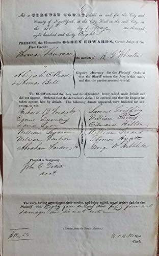 - 19th Century New York Supreme Court Hand Signed Manuscript JG Autographs W/COA