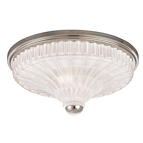 Paris 2-Light Flush Mount - Polished Nickel Finish with Etched Crystal/Frosted Glass Shade - Hudson Valley Ceiling Fan