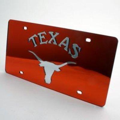 Mirror Acrylic License Plates (Texas Longhorns Inlaid Acrylic License Plate - Orange Mirror Background)