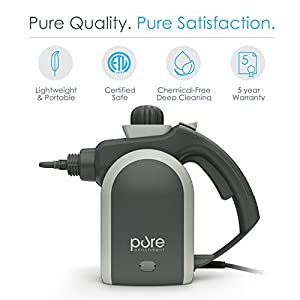 PureClean Handheld Pressurized Steam Cleaner with 9-Piece Accessory Set – Multi-Purpose and Multi-Surface All Natural, Chemical-Free Steam Cleaning for Home, Auto, Patio, & More