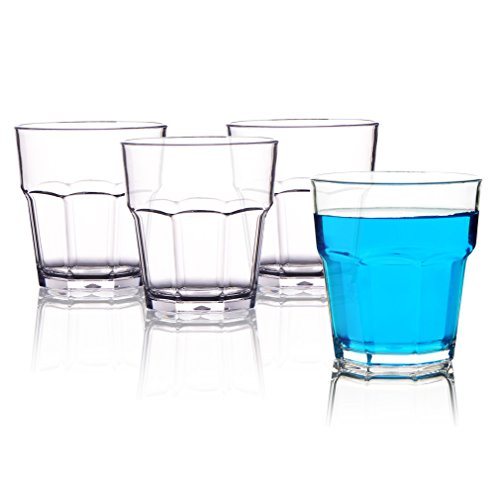 MICHLEY Unbreakable Drinking Glasses 9 Oz, 100% Tritan Plastic Tumbler For Water Juice Beer and Cocktail, BPA-free, Dishwasher safe, Set of (Plastic Drinking Water)