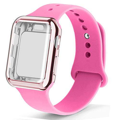 RUOQINI Smartwatch Band with Case Compatiable for Apple Watch Band, Silicone Sport Band and TPU Case for Series 4/3/2/1,BB Pink Band with Rose Pink Case in 42SM Size ()