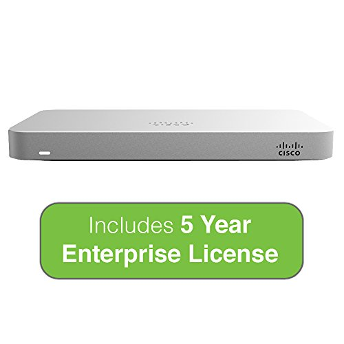 Cisco Meraki MX64 Small Branch Security Appliance Bundle, 200Mbps FW, 5xGbE Ports - Includes 5 Years Enterprise License