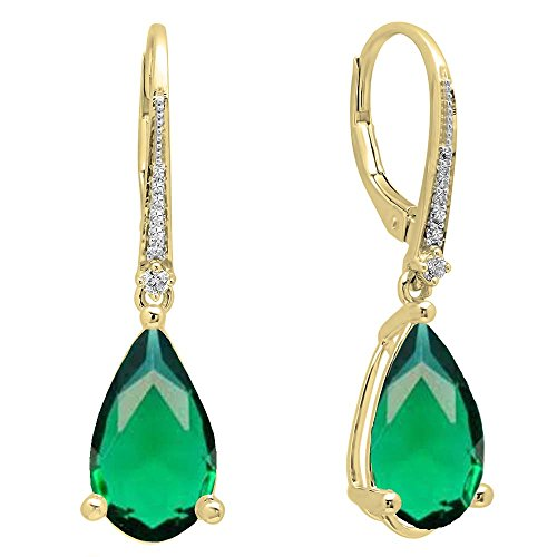 Dazzlingrock Collection 14K 14X8 MM Each Pear Lab Created Emerald & Round Diamond Dangling Drop Earrings, Yellow Gold ()