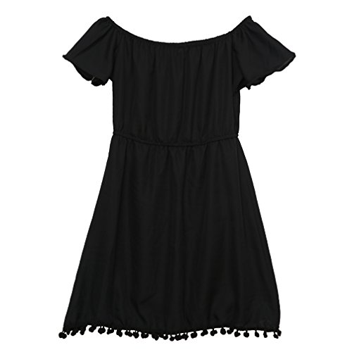 Noir en Beauty Robe Go avec t paule Frange Courte Femme Nue Manches Courtes Robe gOOYwq1ZrW