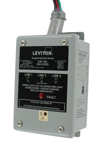 Leviton 32412-DS3 120/240/120 Volt, Hi-Leg Split Phase Delta Panel Protector, DHC and X10 Compatible, 80Ka Max Surge Current
