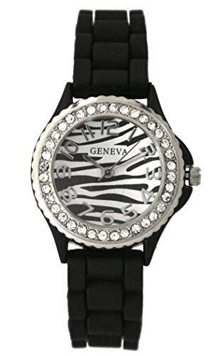 - Geneva Silicone Zebra Animal Design Print Watch Unisex Crystals Rhinestones Wrist Watch Small Size Dial (Black)