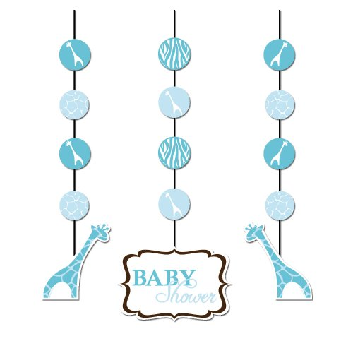 Creative Converting Baby Shower Wild Safari Blue 3 Count Hanging Cutouts Decoration -