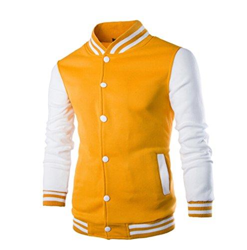 RUEWEY Men's Button Front Slim Fit Warm Sweatshirt Baseball