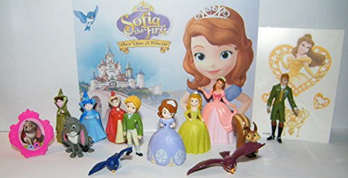 Disney Princess Sofia the First Deluxe Figure Set of 14 Toy Kit with 12 Figures, Princess Tattoo Sheet, ToyRing featuring Sofia, Princess Amber, Princess James and (Sofia The First Tattoos)