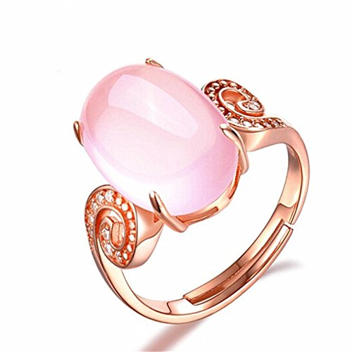 (Sinwo Women Adjustable Natural Powder Crystal Hibiscus Diamond Ring Rose Gold Ring Gift (A))
