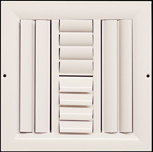 """20""""w X 20""""h 4-Way Aluminum Curved Blade Adjustable Air Supply HVAC Diffuser - Full Control Vertical/Horizontal Airflow Direction - Vent Duct Cover [Outer Dimensions: 21.65""""w X 21.65""""h]"""