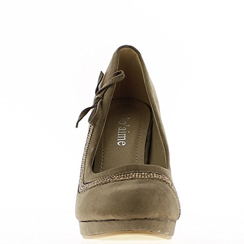 Zapatos mujeres taupe diamantes de imitación para zapato de tacón y frente 10,5 cm
