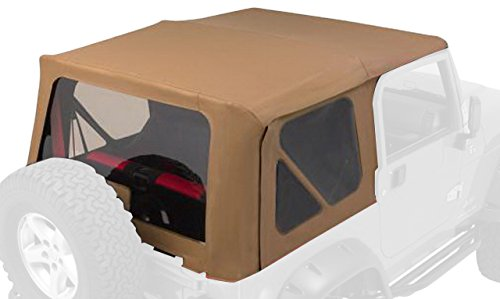 Soft Hardware Top (RAMPAGE PRODUCTS 68717 Complete Soft Top with Frame & Hardware for 1997-2006 Jeep Wrangler TJ, with Full Steel Doors (no soft upper doors), Spice Denim)