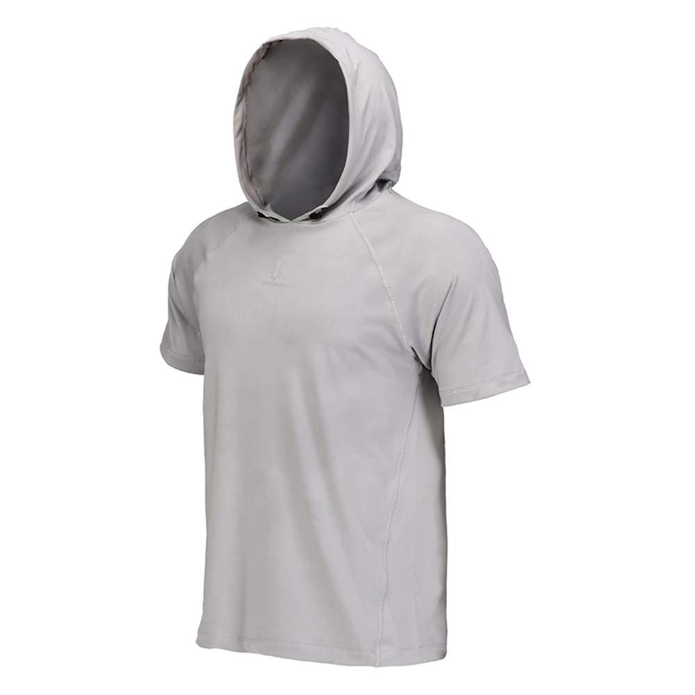 CZPF Kompressionshemd Kurzärmlige Trainingskleidung für Herren, Sport und Freizeit, mit Kapuze, Laufbekleidung, schnell trocknendes Sommer-